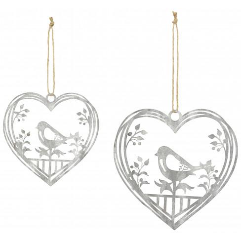 Висяща фигура с птички сърце 13см сива