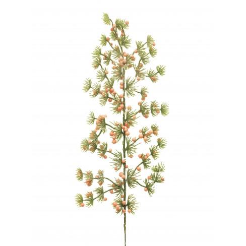 Изкуствена елова клонка с боровинки 48см зелено-розов