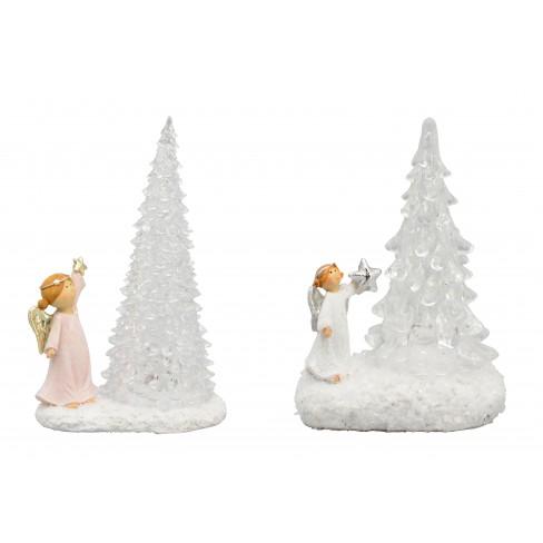 Led фигура елха с ангел 6.5х4.5х15см Lilian бяла 2 ви