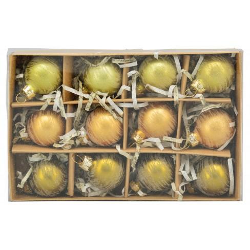 Кт/12 топки за елха 3см Glossy златисти три цвята