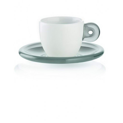 К-т/2 чаши за еспресо с чинии Gocce 50 мл сиви