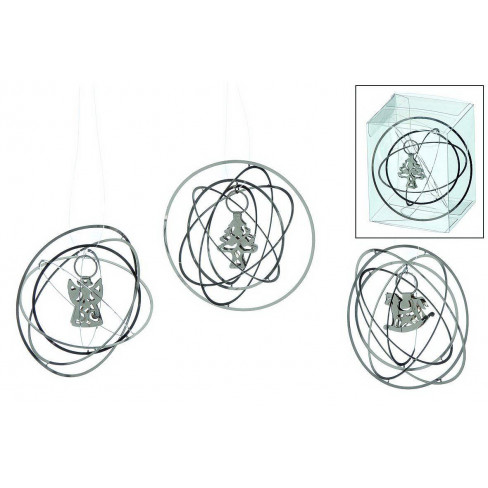 Метални кръгове с фигура сребърни 7см висящи 3 вида