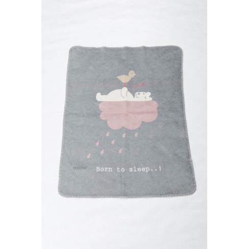 Бебешко одеяло Niki Born To Sleep сиво 75x100см