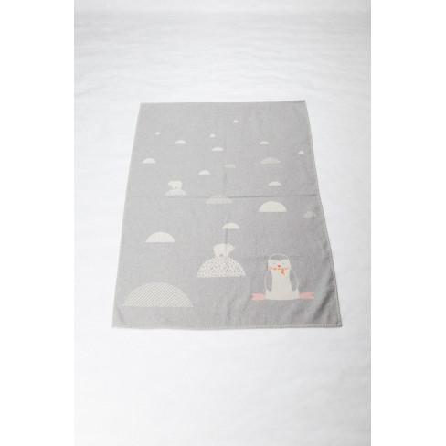 Детско одеяло Lili пингвин сиво 100x140см