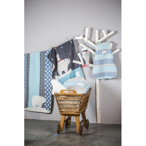 Детско одеяло Juwel бяла мечка и точки 100x140см