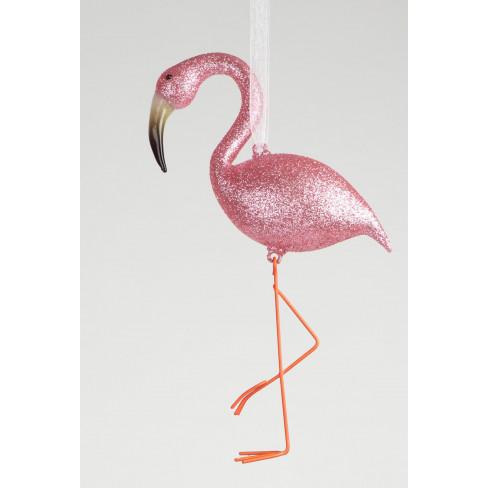 Играчка за елха розово фламинго 13см