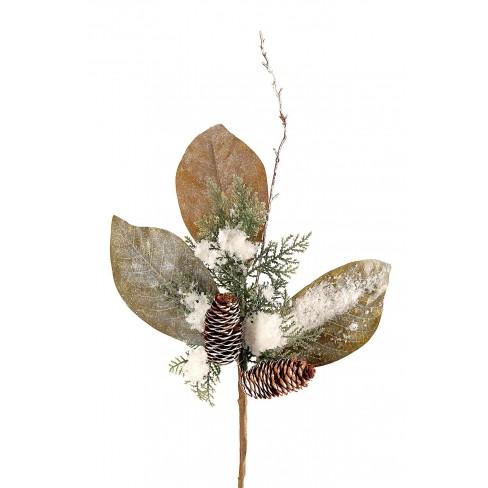 Изкуствена клонка с листа и шишарки 50см