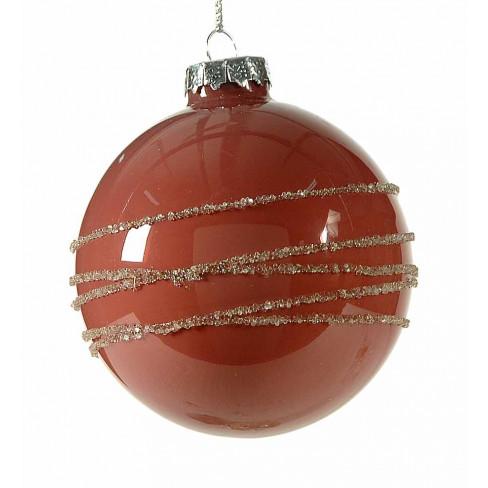 Стъклена топка за елха 8см тъмно розова на ленти