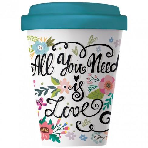 Бамбукова чаша с капак 400 мл All You Need Is Love