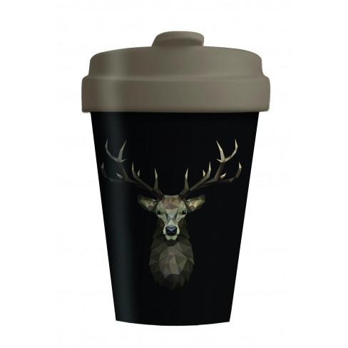 Бамбукова чаша с капак 400мл Deer On Dark