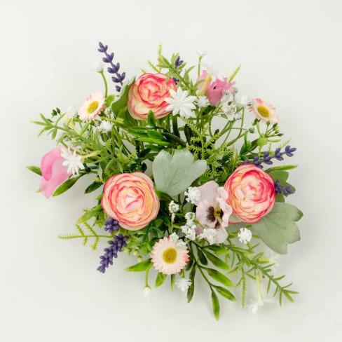 Венче за свещ мини рози 16см светло розово