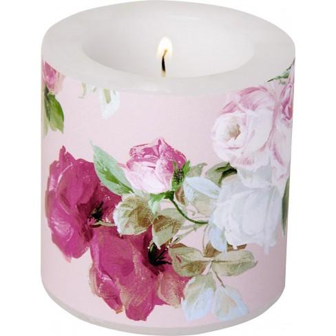 Малка свещ 7.5х7.5см Scarlett светло розова