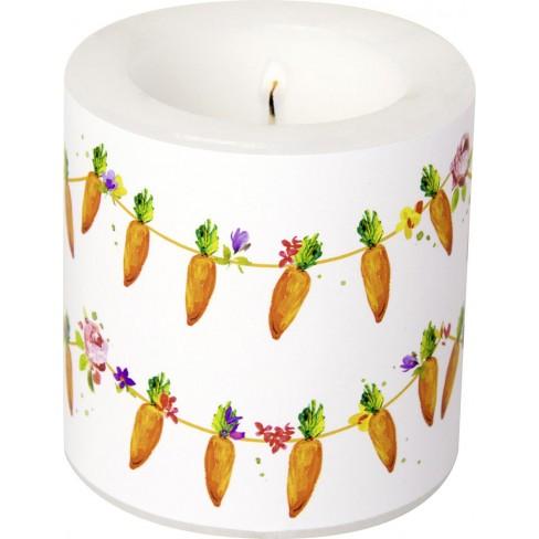 Малка свещ 7.5х7.5см Carrots Garland