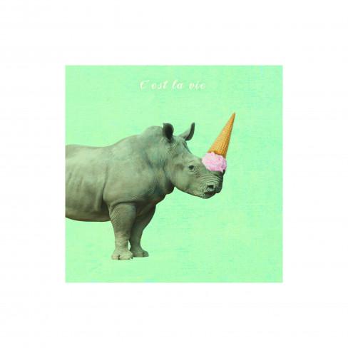 Картина носорог 20х20см Canvas
