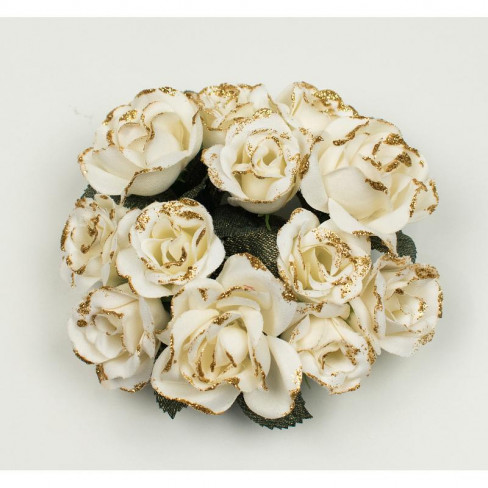 Венче за свещ рози 11см екрю