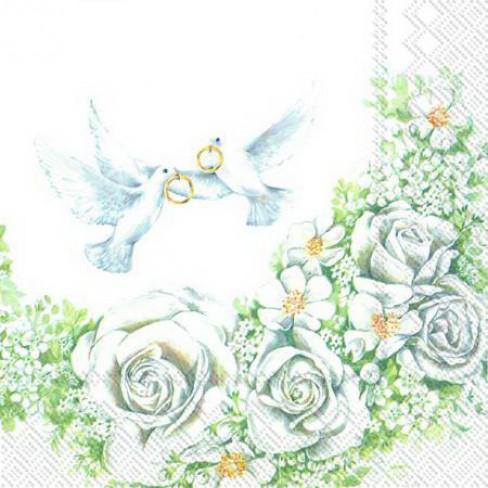 Салфетки с бели рози и гълъби Romantic Doves