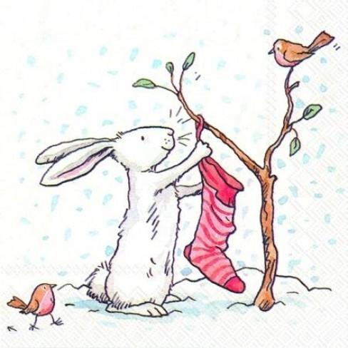 Салфетки 20бр Charming Snow Rabbits