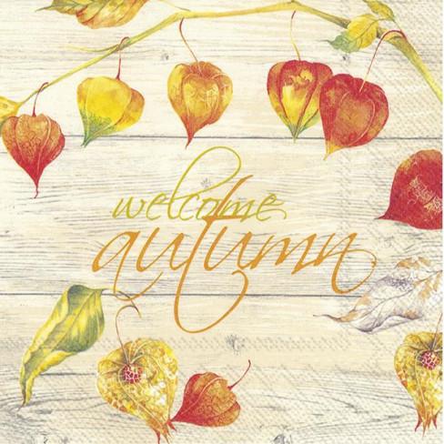 Салфетки 20бр Welcome Autumn екрю