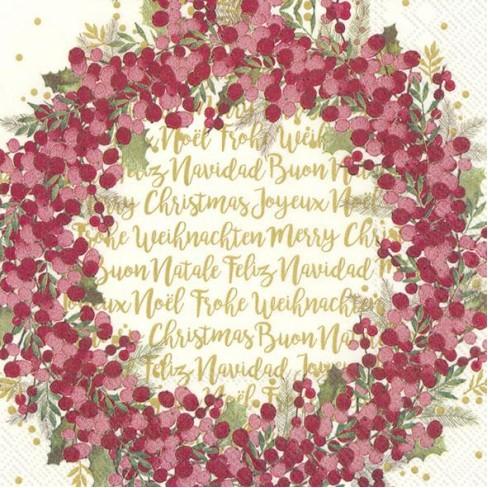 Салфетки 20бр Cynthia Wreath екрю