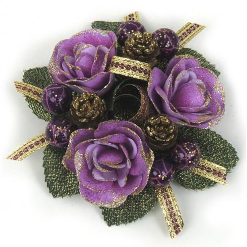Венче за свещ рози и плодове 11см лила/златисто