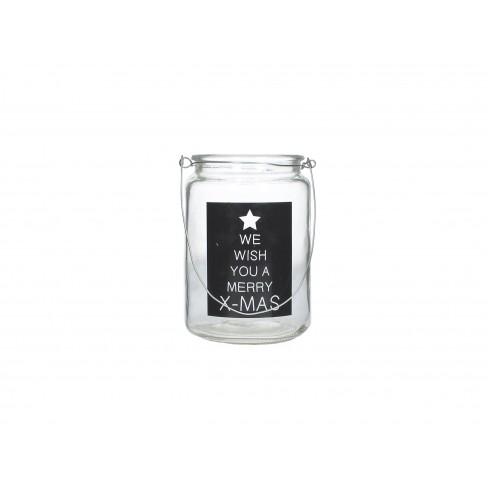 Стъклен свещник/латерна 10x14см с надпис