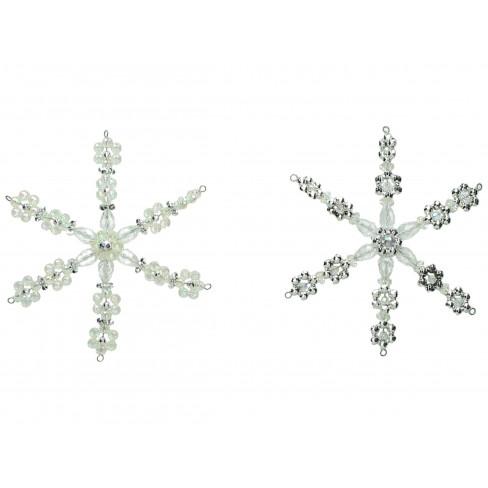 Висяща фигура снежинка 16 см сребриста 2 вида