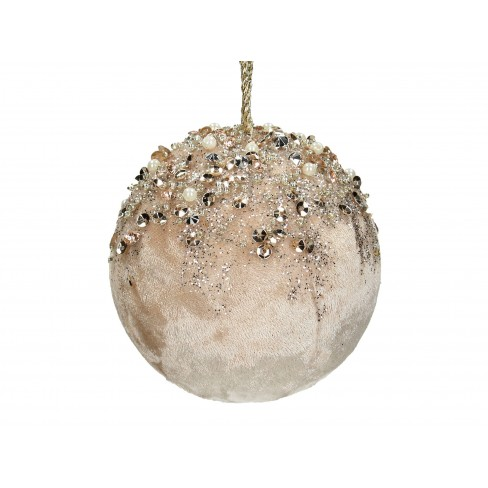 Топка за елха с мъниста 8см шампанско