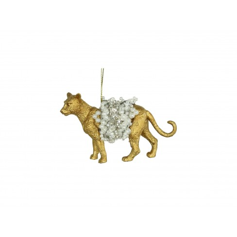 Висяща фигура леопард 8.8см златиста