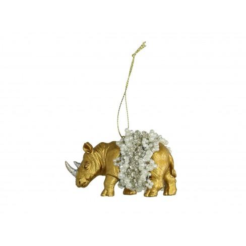 Висяща фигура носорог 8.8см златиста
