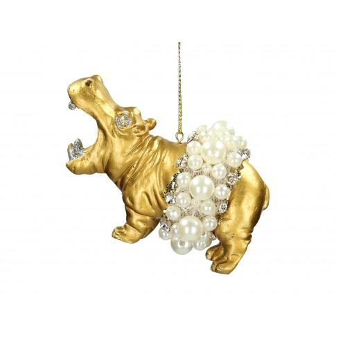 Висяща фигура хипопотам 9.5см златиста