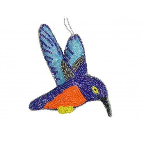 Висяща фигура колибри 12см синя