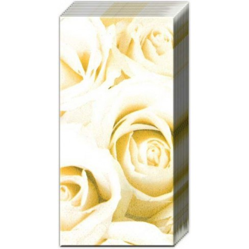 Носни кърпички с бели рози White Festival
