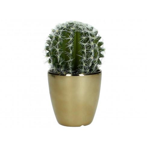 Изкуствен кактус в саксия 14 см златисто/зелено