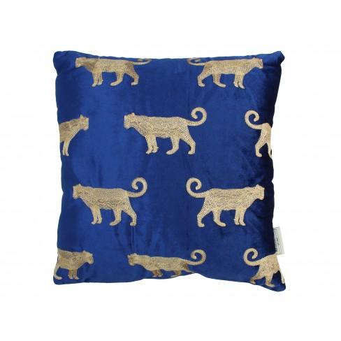 Възглавница леопард 45х45см Velvet синя