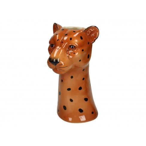 Ваза леопард 17.5х15х29см кафява