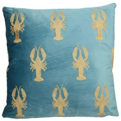 Възглавница с омари 45х45см Velvet синя