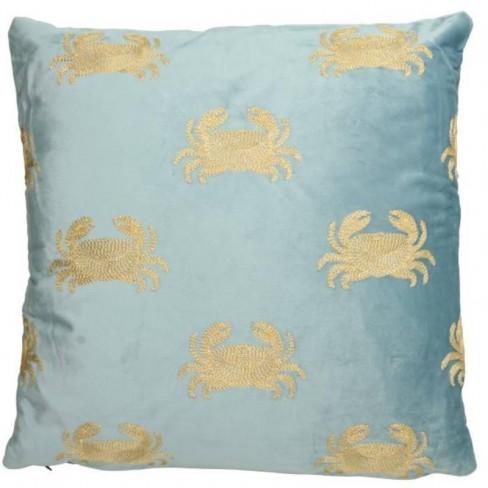 Възглавница с раци 45х45см Velvet синя